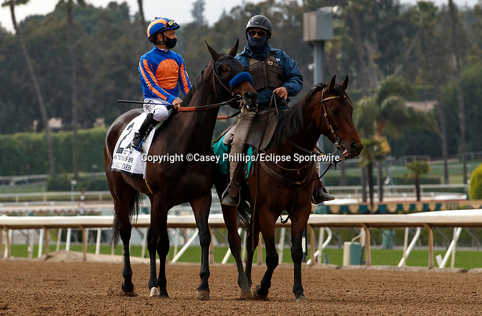 ARCADIA, CA  APRIL 24:  #2 As Time Goes By, ridden by Mike Smith, in the post parade of the Santa Margarita Stakes (Grade ll) on April 24, 2021 at Santa Anita Park in Arcadia, CA. (Photo by Casey Phillips/ Eclipse Sportswire/ CSM)