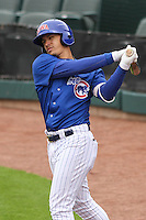Iowa Cubs shortstop Javier Baez (9) warms up in the on deck circle during a Pacific Coast League game against the Colorado Springs Sky Sox on May 11th, 2015 at Principal Park in Des Moines, Iowa.  Colorado Springs defeated Iowa 13-7.  (Brad Krause/Four Seam Images)