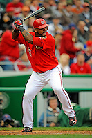 13 April 2008: Washington Nationals' outfielder Wily Mo Pena in action against the Atlanta Braves at Nationals Park, in Washington, DC. The Nationals ended their 9-game losing streak by defeating the Braves 5-4 in the last game of their 3-game series...Mandatory Photo Credit: Ed Wolfstein Photo