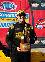 Sep 15, 2019; Mohnton, PA, USA; NHRA top alcohol dragster driver Troy Coughlin Jr celebrates after winning during the Reading Nationals at Maple Grove Raceway. Mandatory Credit: Mark J. Rebilas-USA TODAY Sports