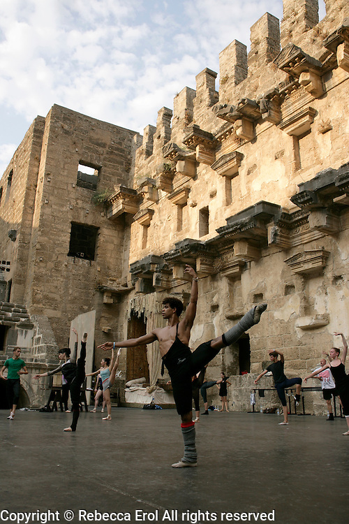 Carlos Acosta taking class with The Royal Ballet, Covent Garden, on the stage of the Aspendos Theatre in Antalya, Turkey