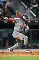 Lehigh Valley IronPigs second baseman Jesmuel Valentin (7) at bat during a game against the Buffalo Bisons on August 29, 2016 at Coca-Cola Field in Buffalo, New York.  Buffalo defeated Lehigh Valley 3-2.  (Mike Janes/Four Seam Images)