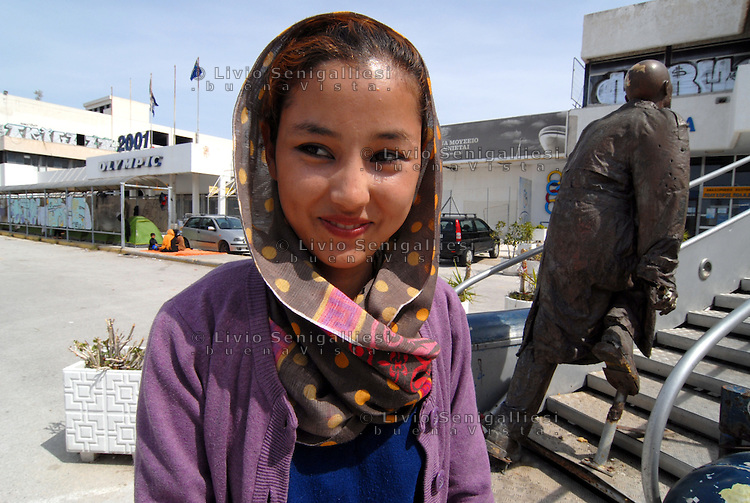 """Athens / Greece 01/04/2016<br /> Young afghani woman in the refugee camp run by greeck government in Athens suburb area of the former airport known as """"West Hellenico"""".<br /> Photo Livio Senigalliesi"""