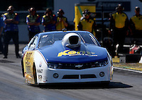 Mar. 15, 2013; Gainesville, FL, USA; NHRA pro stock driver Rodger Brogdon during qualifying for the Gatornationals at Auto-Plus Raceway at Gainesville. Mandatory Credit: Mark J. Rebilas-