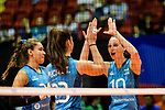 Anahi Florencia Tosi (R) and Agnes Victoria Michel Tosi of Argentina (C) celebrates a point with her teammates during the FIVB Volleyball Nations League Hong Kong match between Japan and Argentina on May 31, 2018 in Hong Kong, Hong Kong. Photo by Marcio Rodrigo Machado / Power Sport Images