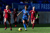 HARRISON, NJ - MARCH 08: Mina Tanaka #15 of Japan during a game between England and Japan at Red Bull Arena on March 08, 2020 in Harrison, New Jersey.