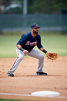 Atlanta Braves third baseman Jose Bautista (1) in the field during a Minor League Extended Spring Training game against the Philadelphia Phillies on April 20, 2018 at Carpenter Complex in Clearwater, Florida.  (Mike Janes/Four Seam Images)