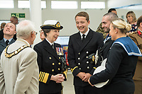 Today, HRH The Princess Royal talks to members of Royal Navy at The Venue Cymru, Llandudno to celebrate Armed Forces Day.<br /> <br /> Saturday 30th June 2018, saw hundreds of events held to mark the tenth annual Armed Forces Day, including parades and ceremonies right across the country. Men and women from the Royal Navy, British Army and Royal Air Force, both regulars and reserves, are being recognised alongside the wider defence family including cadets and veterans.<br /> <br /> The national event in Llandudno, North Wales was attended by Her Royal Highness Princess Anne, the Princess Royal representing The Queen and the Royal Family, the Prime Minister Theresa May and the Defence Secretary Gavin Williamson, along with other senior politicians. <br /> <br /> A parade of around 1,000 serving personnel, veterans, cadets and marching bands set off from the Llandudno War Memorial at 11am to signal the start of the Armed Forces Day celebrations.<br /> <br /> Also present were many veterans that make-up the estimated 2.56 million Armed Forces veteran community living in the UK. Young Cadets were also present; together the Sea, Army, and Air cadets have almost 100,000 members.