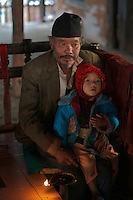 Old man and Child Durbar Square Area Kathmandu Nepal
