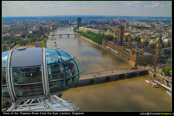 England, London. Thames from the London Eye.<br />