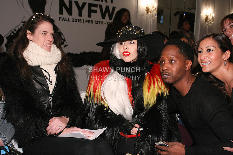 Lady Gaga attends the Pret-A-Porter Fall 2015 fashion show during  Fashion Gallery New York Fashion Week Fall 2015.