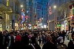 Istanbul, Turkey, Istiklal Caddesi, Istiklal Avenue, Galatasaray, Saturday night, pedestrian street,.