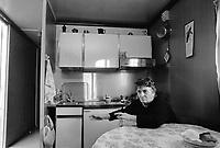 - September 1990, Irpinia reconstruction after the earthquake of 1980, interior of a temporary home in Lioni<br /> <br /> - settembre 1990, ricostruzione in Irpinia dopo il terremoto del 1980, interno di una abitazione provvisoria a Lioni
