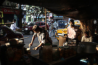 A restaurant stall in the Chandni Chowk area of central Kolkata, India. November, 2013