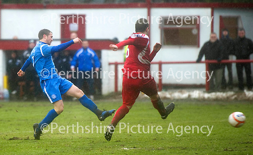 Brechin v St Johnstone....12.03.11  Scottish Cup Quarter Final.Chris Millar scores to make it 1-1.Picture by Graeme Hart..Copyright Perthshire Picture Agency.Tel: 01738 623350  Mobile: 07990 594431