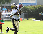 Robert Meachem of the New Orleans Saints hauls in a pass during a drill at Saints training camp.