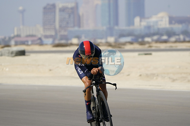 Ivan Ramiro Sosa Cuervo (COL) Ineos Grenadiers during Stage 2 of the 2021 UAE Tour an individual time trial running 13km around  Al Hudayriyat Island, Abu Dhabi, UAE. 22nd February 2021.  <br /> Picture: Eoin Clarke | Cyclefile<br /> <br /> All photos usage must carry mandatory copyright credit (© Cyclefile | Eoin Clarke)