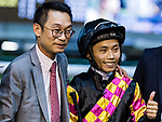 Jockey #9 Matthew Poon Ming-fai (R), who rode Le Pegase, and trainer Jimmy Ting Koon-ho (L) pose for photo after winning the race 1 during Hong Kong Racing at Happy Valley Racecourse on on September 05, 2018 in Hong Kong, Hong Kong. Photo by Yu Chun Christopher Wong / Power Sport Images