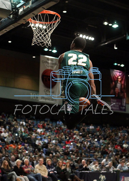 Reno Bighorns' Dar Tucker competes in the slam dunk competition during the NBA D-League Showcase at the Reno Events Center, in Reno, Nev., on Wednesday Jan. 9, 2013..Photo by Cathleen Allison