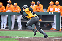 Appalachian State Mountaineers first baseman Robbie Young (28) runs to first base during a game against the Tennessee Volunteers at Lindsey Nelson Stadium on February 16, 2019 in Knoxville, Tennessee. The Volunteers defeated Mountaineers 2-0. (Tony Farlow/Four Seam Images)