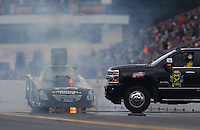 Oct 2, 2016; Mohnton, PA, USA; NHRA funny car driver Jim Campbell suffers an engine fire during the Dodge Nationals at Maple Grove Raceway. Mandatory Credit: Mark J. Rebilas-USA TODAY Sports