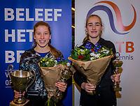 Wateringen, The Netherlands, December 8,  2019, De Rhijenhof , NOJK juniors 14 and18 years, Finals 14 years: Winner girls 14 years Isis van den Broek (NED) (L) and runner up Annelin Bakker (NED)<br /> Photo: www.tennisimages.com/Henk Koster