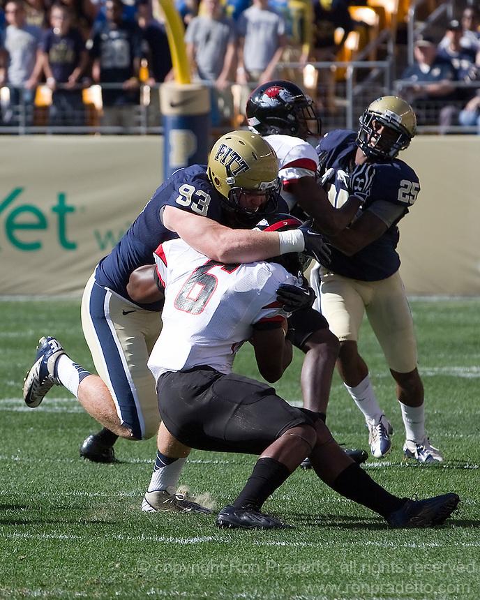 Pitt defensive end Bryan Murphy (93) tackles Gardner-Webb running back Kenny Little (6). The Pitt Panthers defeated the Gardner-Webb Runnin Bulldogs 55-10 at Heinz Field, Pittsburgh PA on September 22, 2012..