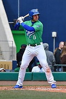 Brian Mundell (15) of the Hartford Yard Goats stands in the batters box during a game against the New Hampshire Fisher Cats at Dunkin Donuts Park on April 8, 2018 in Hartford, Connecticut.<br /> (Gregory Vasil/Four Seam Images)