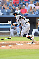 Augusta GreenJackets Jose Layer (22) runs to first base during a game against the Asheville Tourists at McCormick Field on July 13, 2019 in Asheville, North Carolina. The GreenJackets defeated the Tourists 6-4. (Tony Farlow/Four Seam Images)