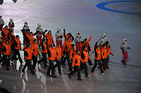 OLYMPIC GAMES: PYEONGCHANG: 09-02-2018, PyeongChang Olympic Stadium, Olympic Games, Opening Ceremony, Entrance Team The Netherlands, Kai Verbij, Ronald Mulder, Annouk van der Weijden, Irene Schouten, Gerard van Velde, Wouter olde Heuvel, ©photo Martin de Jong