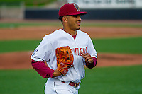 Wisconsin Timber Rattlers outfielder Trent Clark (27) jogs in from the outfield between innings during a Midwest League game against the Clinton LumberKings on May 9th, 2016 at Fox Cities Stadium in Appleton, Wisconsin.  Clinton defeated Wisconsin 6-3. (Brad Krause/Four Seam Images)