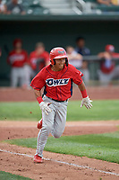 Kevin Arias (4) of the Orem Owlz hustles to first base against the Idaho Falls Chukars at Melaleuca Field on July 14, 2019 in Idaho Falls, Idaho. The Owlz defeated the Chukars 6-2. (Stephen Smith/Four Seam Images)