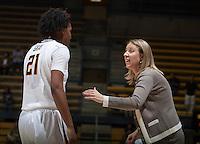 California head coach Lindsay Gottlieb talks with Reshanda Gray during the game against Northwestern at Haas Pavilion in Berkeley, California on November 24th, 2013.  California defeated Northwestern, 65-51.