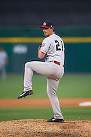 Louisville Bats relief pitcher Chad Rogers (21) delivers a pitch during a game against the Buffalo Bisons on June 22, 2016 at Coca-Cola Field in Buffalo, New York.  Buffalo defeated Louisville 8-1.  (Mike Janes/Four Seam Images)