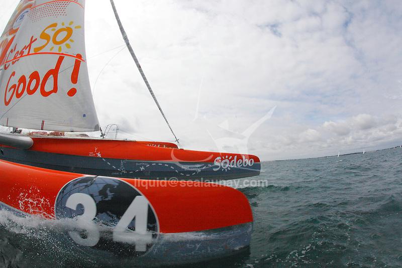 Trimaran Sodebo  with the skipper Thomas coville  in Preparation for La Route du Rhum La Banque Postale  2010.