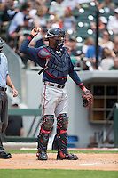Gwinnett Braves catcher Christian Bethancourt (38) throws the ball back to his pitcher during the game against the Charlotte Knights at BB&T BallPark on July 3, 2015 in Charlotte, North Carolina.  The Braves defeated the Knights 11-4 in game one of a day-night double header.  (Brian Westerholt/Four Seam Images)