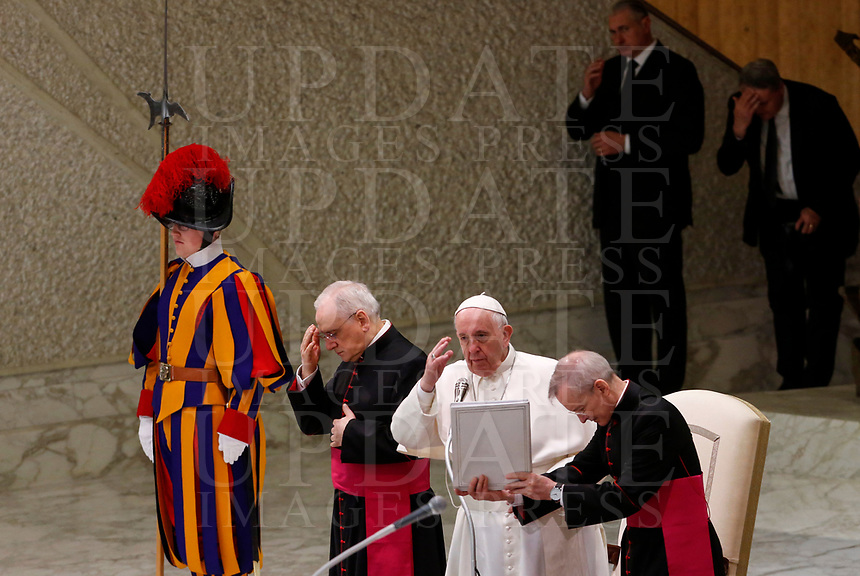 Pope Francis delivers his blessing to the faithful at the end of his weekly general audience in the Paul VI hall at the Vatican, January 22, 2020.<br /> <br /> UPDATE IMAGES PRESS/Riccardo De Luca<br /> <br /> STRICTLY ONLY FOR EDITORIAL USE
