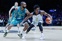 July 14, 2016: TRA HOLDER (6) of the Arizona State Sun Devils protects the ball during game 2 of the Australian Boomers Farewell Series between the Australian Boomers and the American PAC-12 All-Stars at Hisense Arena in Melbourne, Australia. Sydney Low/AsteriskImages.com