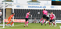 1st May 2021; Liberty Stadium, Swansea, Glamorgan, Wales; English Football League Championship Football, Swansea City versus Derby County; Morgan Whittaker of Swansea City heads the ball to score the equalizer to make it 1-1 in the 64th minute