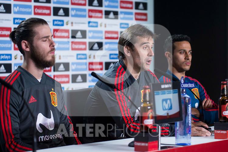 Spain coach Julen Lopetegui, David de Gea and Thiago Alcantara during press conference the day before Spain and Argentina match at Wanda Metropolitano in Madrid , Spain. March 26, 2018. (ALTERPHOTOS/Borja B.Hojas)