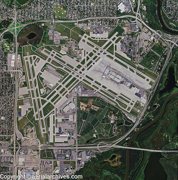 aerial photo map of Minneapolis St Paul International Airport, Minnesota