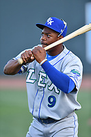 Right fielder Khalil Lee (9) of the Lexington Legends warms up before a game against the Columbia Fireflies on Friday, April 21, 2017, at Spirit Communications Park in Columbia, South Carolina. Columbia won, 5-0. (Tom Priddy/Four Seam Images)