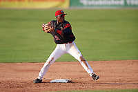 Batavia Muckdogs second baseman Demetrius Sims (55) turns a double play during the first game of a doubleheader against the Mahoning Valley Scrappers on August 28, 2017 at Dwyer Stadium in Batavia, New York.  Mahoning Valley defeated Batavia 6-3.  (Mike Janes/Four Seam Images)