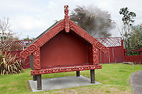 Maori Pataka, an outdoor house for storing food or provisions.  Ohinemutu Village, Rotorua, north island, New Zealand.  Steam from a hot spring fills the air behind the fence.
