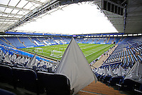White flags are left out for supporters before the Barclays Premier League match between Leicester City and Swansea City played at The King Power Stadium, Leicester on April 24th 2016