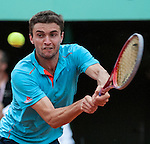 Gilles Simon (FRA) wins at Roland Garros in Paris, France on May 30, 2012