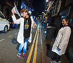 """© Joel Goodman - 07973 332324 . Manchester , UK . 05/04/2015 . Bar workers in Manchester's """" Gay Village """" . Revellers on a Saturday night out during the Easter Bank Holiday weekend . Photo credit : Joel Goodman"""