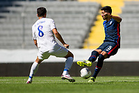 GUADALAJARA, MEXICO - MARCH 18: Mauricio Pineda #5 of the United States battles for the ball during a game between Costa Rica and USMNT U-23 at Estadio Jalisco on March 18, 2021 in Guadalajara, Mexico.