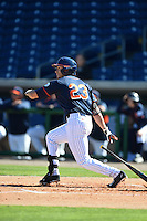 Cal State Fullerton Titans outfielder David Olmedo-Barrera (23) during a game against the Alabama State Hornets on February 14, 2015 at Bright House Field in Clearwater, Florida.  Alabama State defeated Cal State Fullerton 3-2.  (Mike Janes/Four Seam Images)