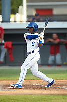Montae Bradshaw (6) of the Burlington Royals follows through on his swing against the Johnson City Cardinals at Burlington Athletic Stadium on July 15, 2018 in Burlington, North Carolina. The Cardinals defeated the Royals 7-6.  (Brian Westerholt/Four Seam Images)